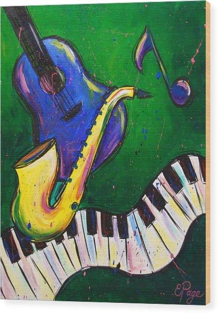 Jazz Time Wood Print