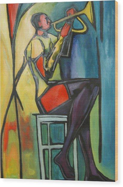 Jazz Trumpet Player Wood Print