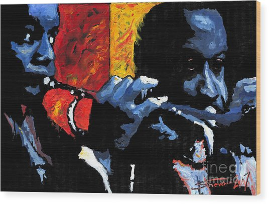 Jazz Trumpeters Wood Print