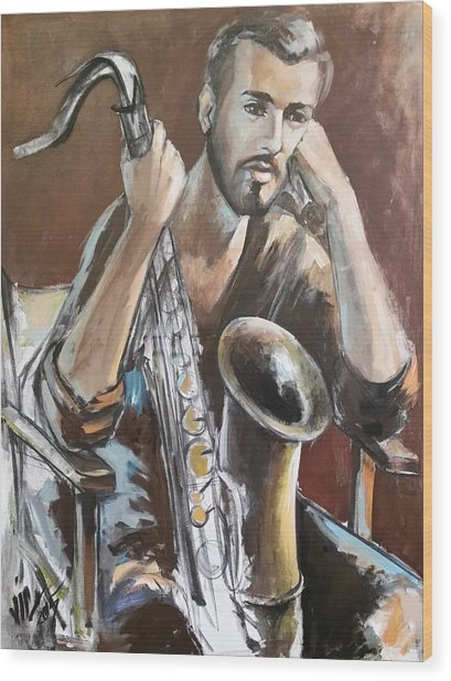 Jazz.saxophone Player Painting  Wood Print
