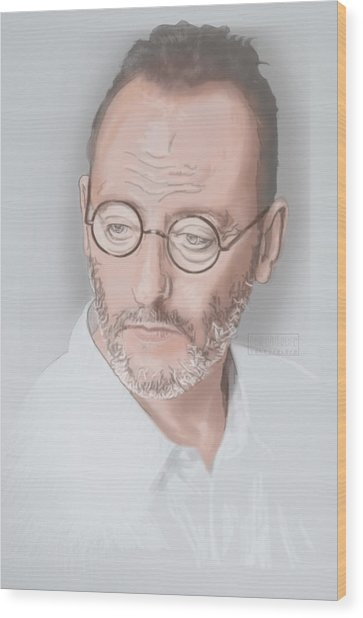 Wood Print featuring the mixed media Jean Reno by TortureLord Art