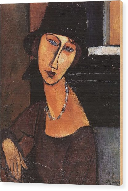 Jeanne Hebuterne With Hat And Necklace Wood Print