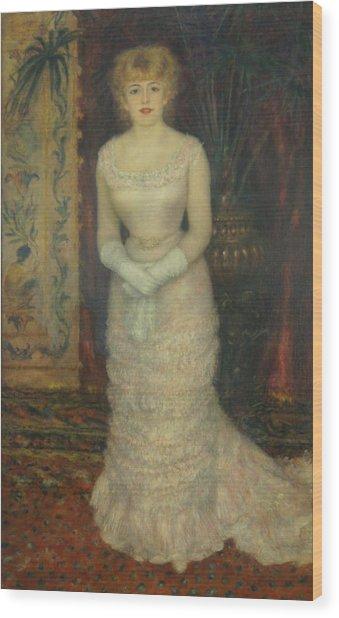 Jeanne Samary Wood Print by Pierre Auguste Renoir