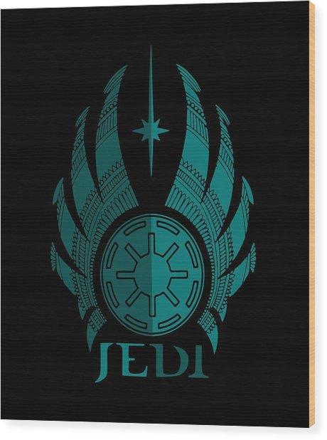Jedi Symbol - Star Wars Art, Blue Wood Print