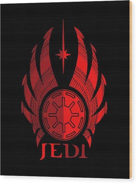 Jedi Symbol - Star Wars Art, Red Wood Print
