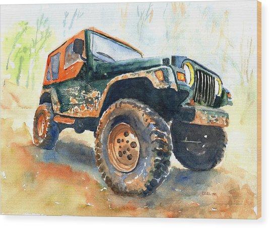 Jeep Wrangler Watercolor Wood Print