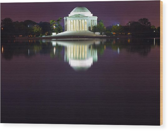 Jefferson Memorial Across The Pond At Night 4 Wood Print