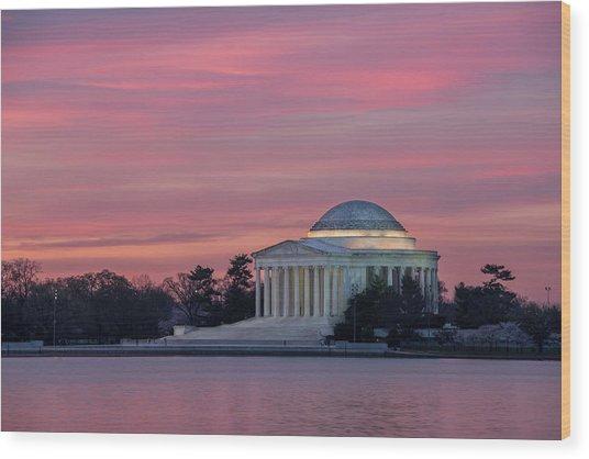 Jefferson Memorial Sunrise Wood Print by Michael Donahue