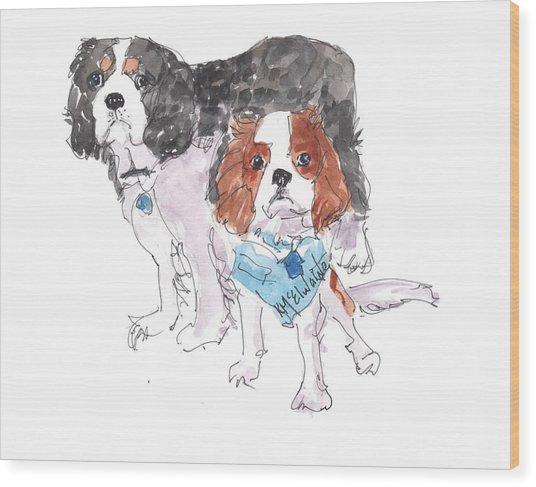 Jeffs Dogs Watercolor Kmcelwaine  Wood Print