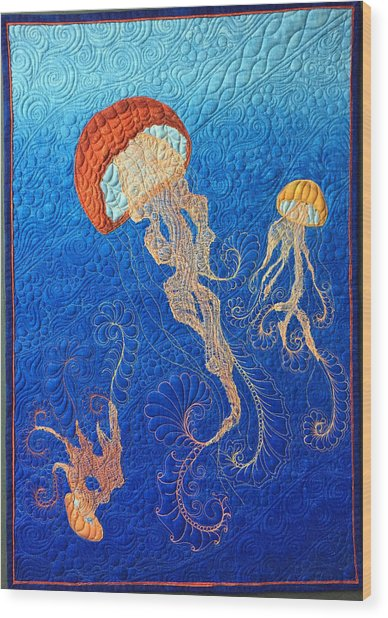Jellies Of The Sea Wood Print
