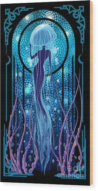 Jellyfish Mermaid Wood Print