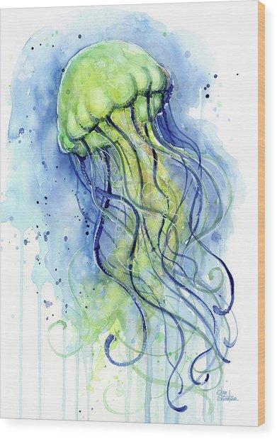 Jellyfish Watercolor Wood Print