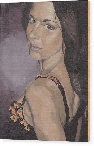 Jenny In Black Wood Print