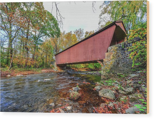 Jericho Covered Bridge In Maryland During Autumn Wood Print