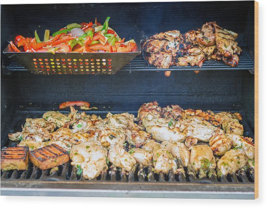 Jerk Chicken And Veggies On Grill Wood Print by Toni Thomas