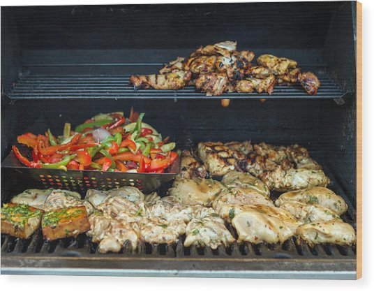 Jerk Chicken With Veggies On Grill Wood Print by Toni Thomas