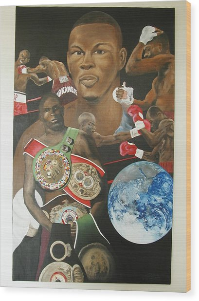 Jermain Taylor Montage Wood Print by Angelo Thomas