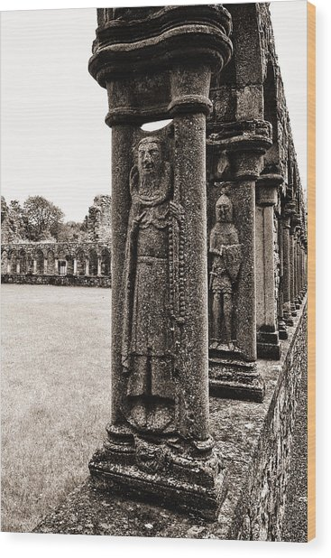 Wood Print featuring the photograph Jerpoint Abbey Cloister Stone Figures by Menega Sabidussi