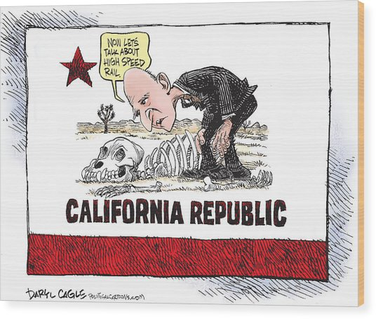 Jerry Brown - California Drought And High Speed Rail Wood Print