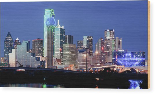 Jerry's Dallas Skyline Wood Print