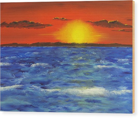 Jersey Shore Sunset Wood Print