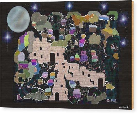 Jerusalem Moon Wood Print by Sher Magins