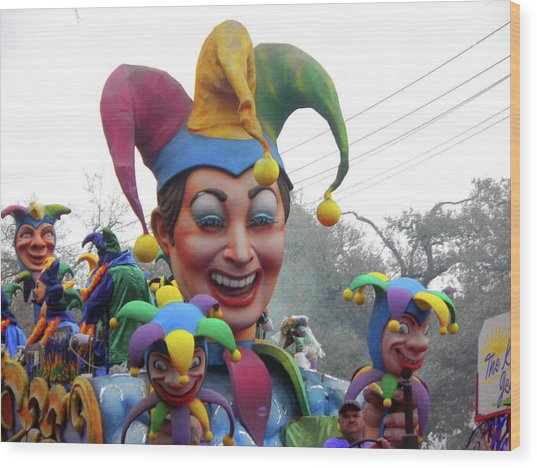 Jesters On Parade Wood Print