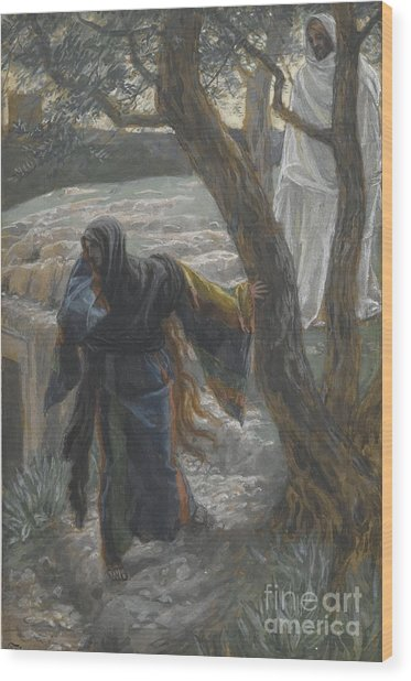 Jesus Appears To Mary Magdalene Wood Print