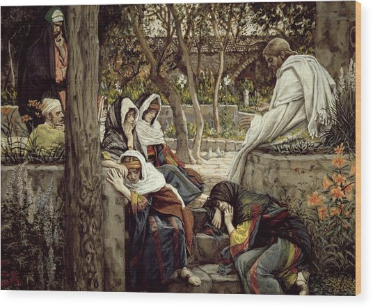 Jesus At Bethany Wood Print