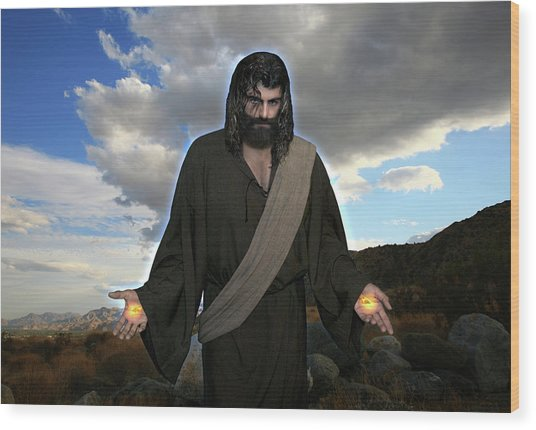 Jesus Christ- And He Withdrew Himself Into The Wilderness And Prayed Wood Print