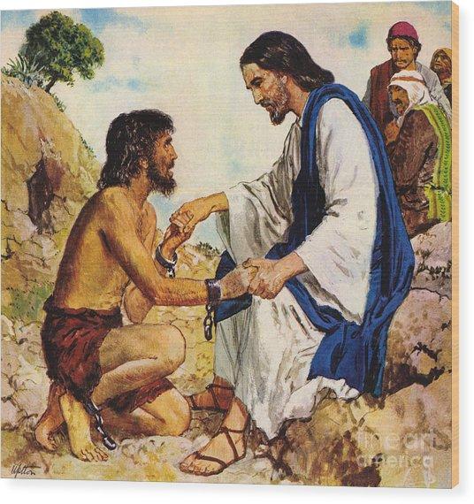 Jesus Christ Cures A Madman Wood Print
