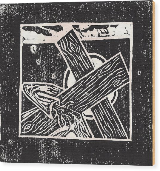 Jesus Falls A Second Time Wood Print by Lars Lindgren