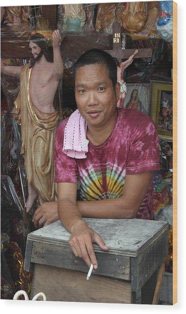 Jesus For Sale Wood Print by Jez C Self
