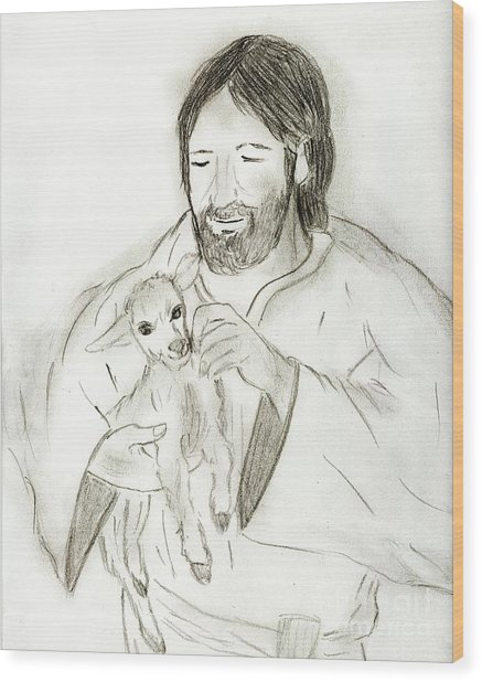 Jesus Holding Lamb Wood Print
