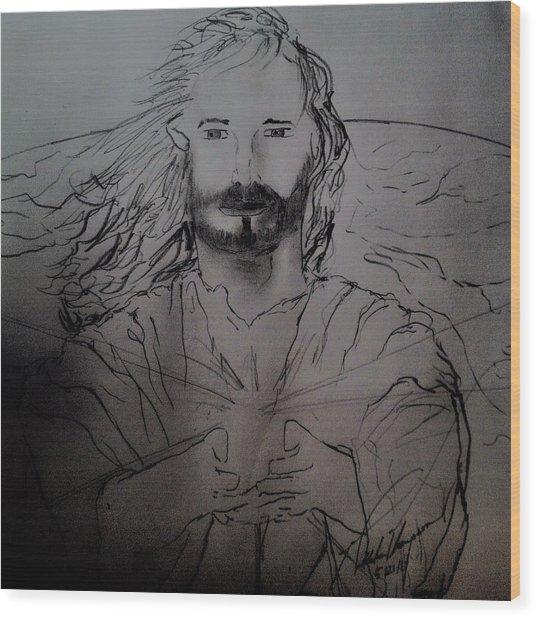 Jesus Light Of The World Full Wood Print