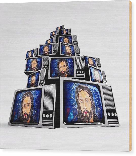 Jesus On Tv Wood Print