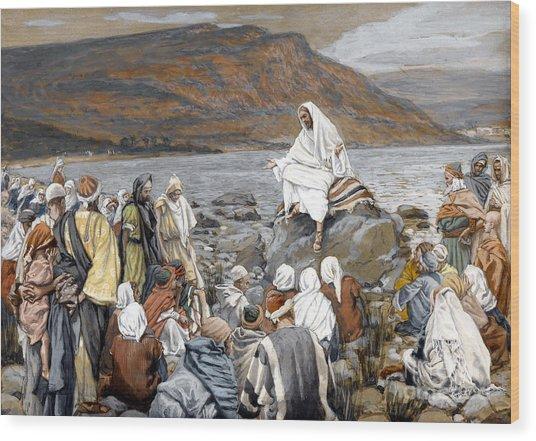 Jesus Preaching Wood Print