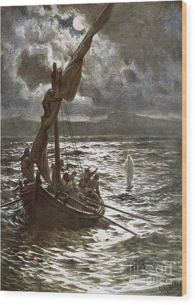 Jesus Walking Upon The Sea Wood Print