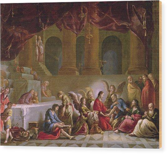 Jesus Washing The Disciples Feet  Wood Print