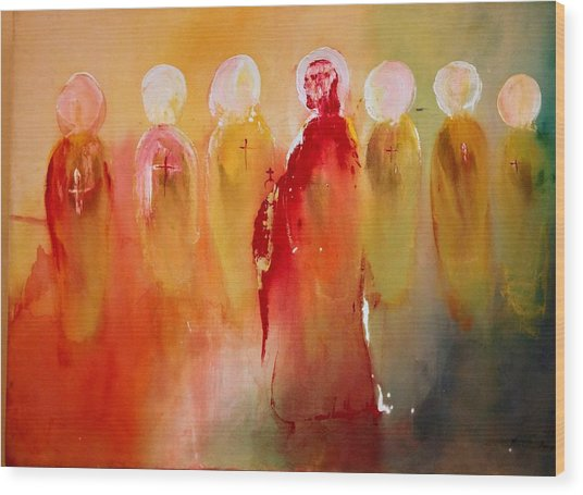 Jesus With His Apostles Wood Print