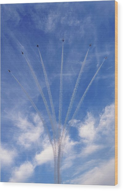 Jet Planes Formation In Sky Wood Print