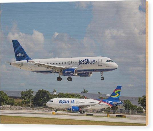 Jetblue Over Spirit Air Wood Print