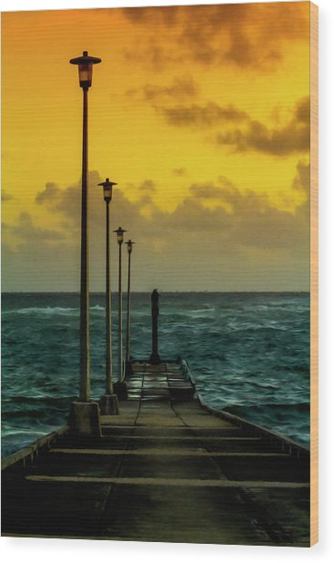 Jetty At Sunrise Wood Print