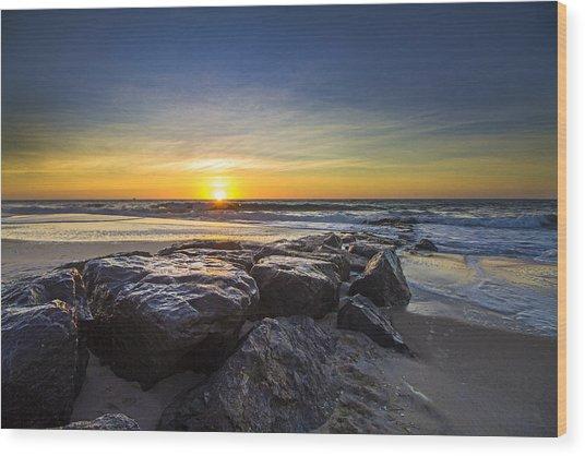 Jetty Four Sunrise Wood Print