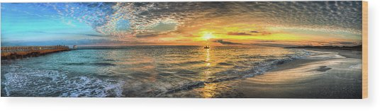 Jetty Sunrise Panorama Wood Print