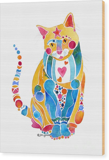 Jewel Colors Cat With Hearts N Stars Wood Print