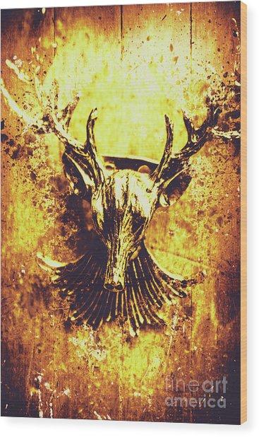 Jewel Deer Head Art Wood Print