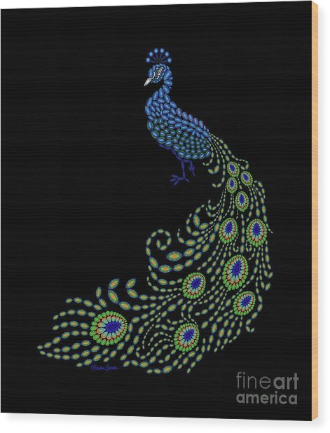 Jeweled Peacock Wood Print