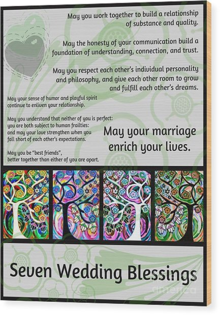Jewish Seven Wedding Blessings Tree Of Life Hamsas Wood Print