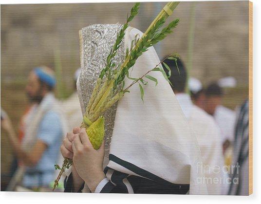 Jewish Sunrise Prayers At The Western Wall, Israel 5 Wood Print